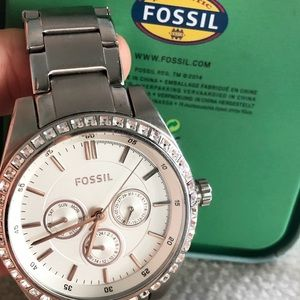 FOSSIL Stainless steel silver rhinestone watch